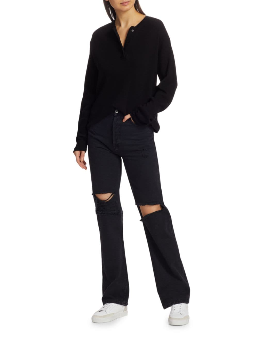 Re/done High-Rise Distressed Straight Jeans | SaksFifthAvenue