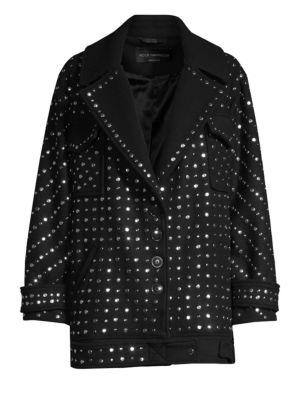 NOUR HAMMOUR Etoile Wool Studded Coat in Black