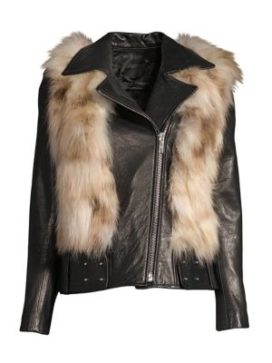 NOUR HAMMOUR Rochelle Fox Fur & Leather Moto Jacket in Black Natural