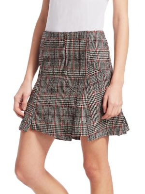 Mcq Alexander Mcqueen Black And Red Cut Up Check Miniskirt, Black White