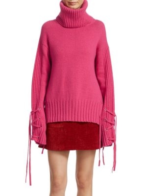 Lace-Up Wool And Cashmere-Blend Turtleneck Sweater, Acid Pink
