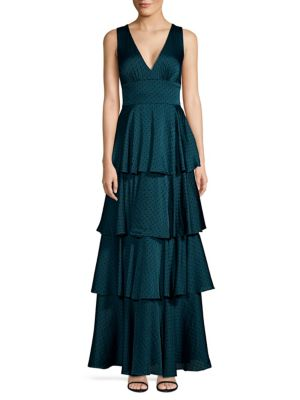 Laundry By Shelli Segal Linings Tiered Flocked Dot Chiffon Gown