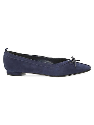 Image of ONLY AT SAKS. Sumptuous suede flats are finished with a delicate bow. Leather upper Point toe Slip-on style Leather lining and sole Made in Italy. Women's Shoes - M Blahnik Womens Shoes. Manolo Blahnik. Color: Navy. Size: 36 (6).