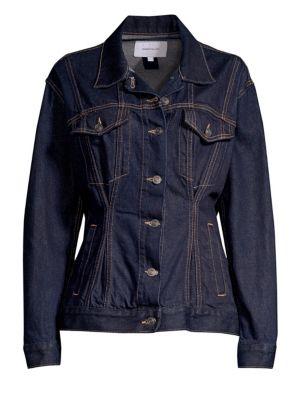 The Corset Trucket Cotton Denim Jacket in Dark Denim