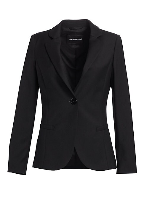 Image of Flawless, sleek and sophisticated. Giorgio Armani is known for his remarkable ability to cut a jacket. This expertly tailored one-button blazer is crafted from a stretch-wool fabric and will easily elevate any outfit. Notch lapels. Long sleeves. Button cu
