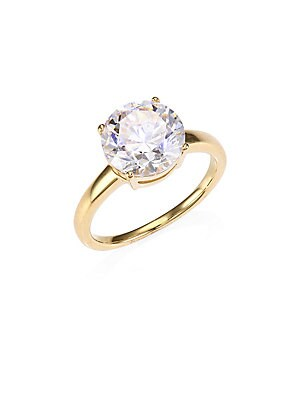 """Image of ONLY AT SAKS. A glittering round stone tops this goldplated band. Cubic zirconia 18K yellow goldplated sterling silver Imported SIZE Width, about 0.8"""". Fashion Jewelry - Adriana Orsini. Adriana Orsini. Color: Gold. Size: 5."""