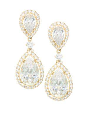ADRIANA ORSINI 18K Goldplated Sterling Silver Framed Double Pear Drop Earrings