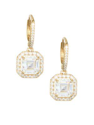 ADRIANA ORSINI 18K Goldplated Sterling Silver Framed Square Leverback Earrings
