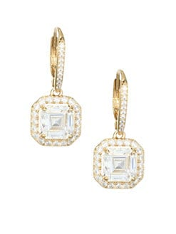 Product image. QUICK VIEW. Adriana Orsini. 18K Goldplated Sterling Silver Framed Square Leverback Earrings