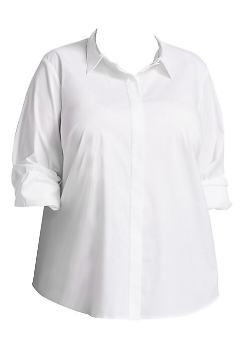"""Image of Metallic collar trim updates this chic dress shirt. Point collar. Long sleeves. Button cuffs. Concealed button front. Curved hem. Lined. Cotton/polyamide/lycra/elastane. Dry clean. Imported. SIZE & FIT. About 27.5"""" from shoulder to hem."""