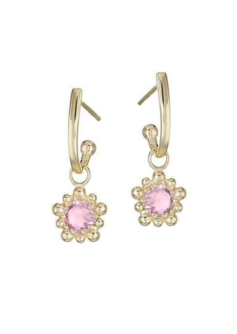 "Image of Dazzling faceted pink topaz gemstone charms set in a micro Gold setting hang from a solid gold detachable hoop. Mystic coated pink topaz, 5mm.14K yellow gold. Post back. Handmade in Canada. SIZE. Drop, about 0.9"".Width, about 0.3""."
