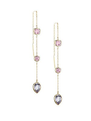 "Image of Dazzling bezel set pink spinel and malaya garnet stones dangle from a delicate diamond cut chain. Pink spinel Malaya garnet 14K yellow gold Post back Handmade in Canada SIZE Length, about 4"". Fashion Jewelry - Modern Jewelry Designers > Saks Fifth Avenue."