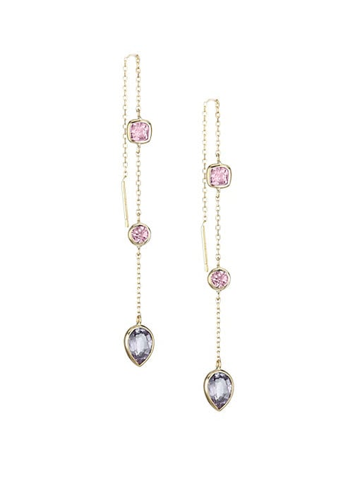 "Image of Dazzling bezel set pink spinel and malaya garnet stones dangle from a delicate diamond cut chain. Pink spinel. Malaya garnet.14K yellow gold. Post back. Handmade in Canada. SIZE. Length, about 4""."