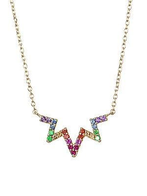 "Image of A whimsical zig zag silhouette with dazzling multicolor sapphire pavé suspended from a handcrafted 14K solid gold chain. Multicolored sapphires, 1.2mm 14K yellow gold Made in Canada SIZE Length, about 16"" with 1"" extender Width, about 0.75"". Fashion Jewel"