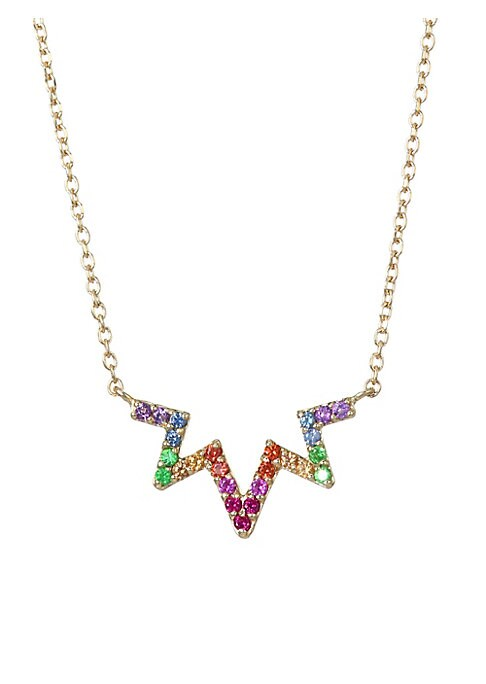 "Image of A whimsical zig zag silhouette with dazzling multicolor sapphire pave suspended from a handcrafted 14K solid gold chain. Multicolored sapphires, 1.2mm.14K yellow gold. Made in Canada. SIZE. Length, about 16"" with 1"" extender. Width, about 0.75""."