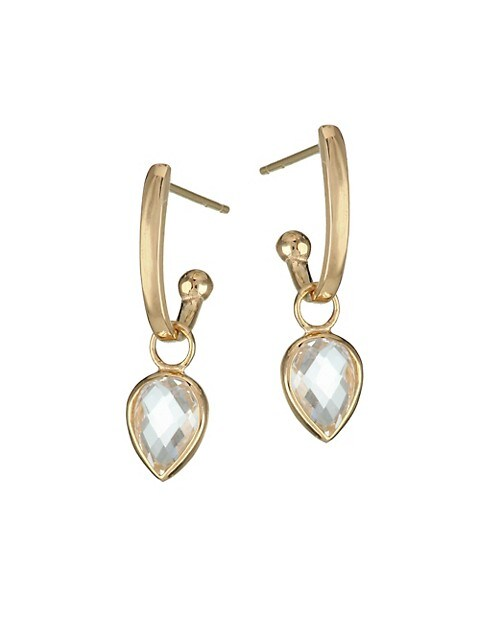 Classique 14K Yellow Gold White Topaz Pear Charm Earrings