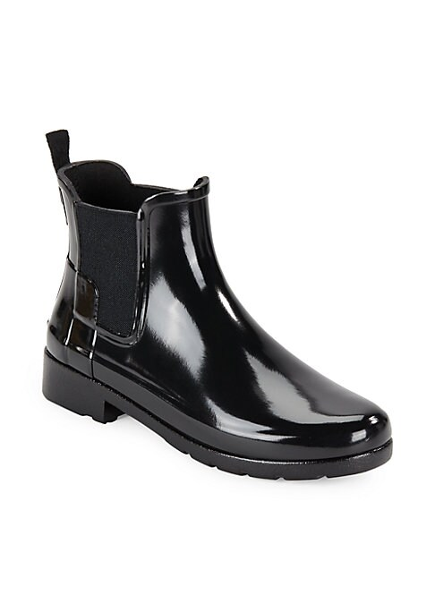 Image of .Sleek rubber rain boots in a low ankle style. .Rubber upper. .Round toe. .Elasticized sides. .Fabric lining. .Rubber sole. .Padded insole. .Imported. .