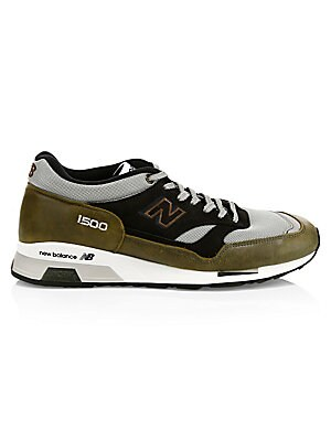 Image of Woven patchwork sneakers flaunt iconic logo embroidery. Leather upper Round toe Lace-up vamp Mesh lining Rubber sole Made in UK. Men's Shoes - Contemporary Lifestyle. New Balance. Color: Green Grey. Size: 13 D.