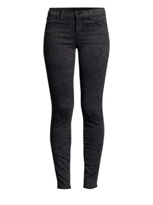 620 Mid-Rise Super Skinny Sateen Snake-Print Jeans in Gray Pattern