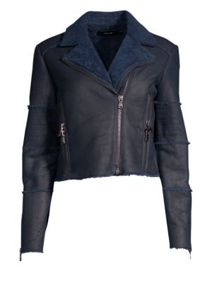 Aiah Lambskin Leather Moto Jacket With Genuine Shearling Trim, Washed Navy