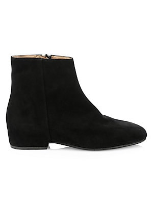 "Image of Sleek ankle boots is crafted in a classic suede finish. Suede upper Almond toe Side zip closure Leather lining Rubber sole Made in Italy SIZE Self-covered block heel, 1.3"" (35mm) Shaft, 4.92"" Leg opening, 10.35"". Women's Shoes - Cold Weather > Saks Fifth"
