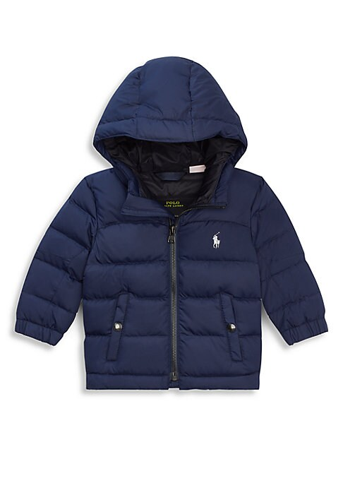 Image of This hooded jacket combines an insulating quilted design and warm down fill for cozy comfort when temperatures dip. Attached hood. Long sleeves. Elasticized cuffs. Exposed front zip. Front snap pockets.650 fill power. Lined. Polyester. Fill: down/feathers