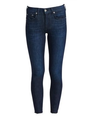 Mid-Rise Raw Hem Skinnyankle Jeans in Tonal River