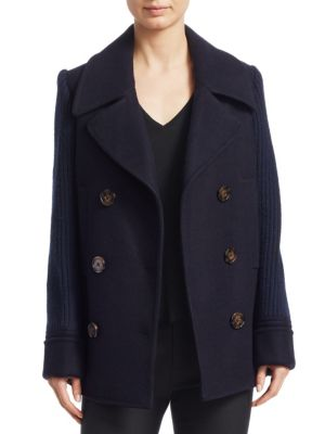 DEREK LAM 10 CROSBY Double Breasted Pea Coat With Knit Sleeves in Blue