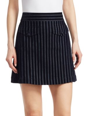 Stripe Cotton Blend Miniskirt in Blue