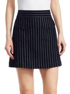 Stripe Cotton Blend Miniskirt in Blue