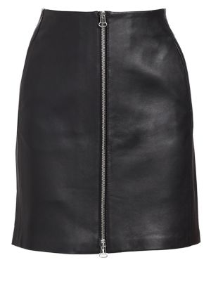 Heidi A-Line Lamb Leather Mini Skirt, Black