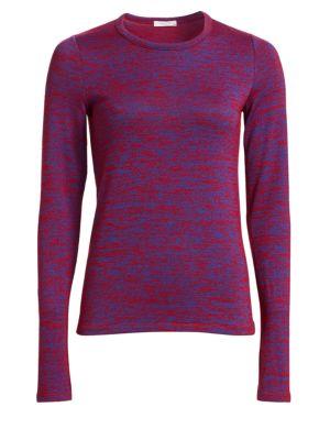 Crewneck Long-Sleeve Slim Patterned Jersey Tee, Red Blue Multi