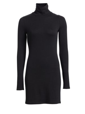 Landon Turtleneck Long-Sleeve Body-Con Sweaterdress, Black