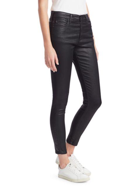 AG Jeans Farrah High-Rise Ankle Faux Leather Skinny Pants | SaksFifthAvenue