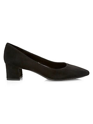 "Image of Minimalist suede pumps are a versatile wardrobe essential. Leather upper Point toe Silp-on style Leather lining Rubber sole Made in Italy SIZE Self-covered block heel, 1.5"" (40mm). Women's Shoes - Cold Weather > Saks Fifth Avenue. Aquatalia. Color: Black."