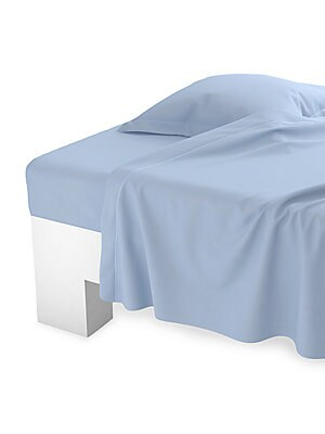 "Image of Flat sheet for full/queen size bed in cozy long-staple combed cotton. Cotton Machine wash Imported SIZE Queen: 94"" W x 122"" L King: 106"" W x 122"" L. Gifts - Bed And Bath > Saks Fifth Avenue. Anne De Solène. Color: Iris. Size: FULL/QUEEN."