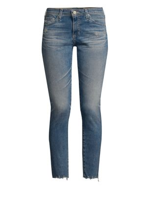 The Legging Super Skinny Ankle Jeans W/ Chewed Hem, 23 Years Limelight