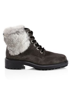 Lacy Rabbit Fur & Shearling Lined Combat Boots by Aquatalia