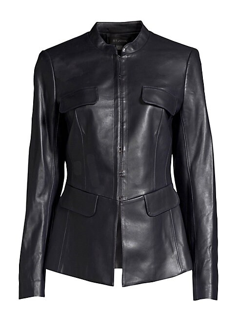 Image of Every closet begs for a little black moto jacket, and this is a smart take on the classic item. Cut from buttery leather, the jacket references the corset in both closure type and cut of the bodice, serving to flatter the female figure just-so. Stand coll