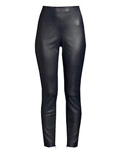9af61ba48cf St. John. Stretch Nappa Leather Cropped Leggings