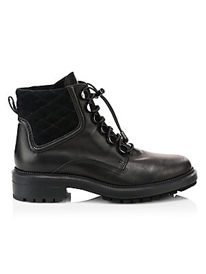 """Image of Edgy combat boots with a utilitarian lace-up bungee cord closure. Leather upper Round toe Lace-up bungee cord closure Neoprene lining Rubber sole Made in Italy SIZE Block heel, 1.3"""" (35mm) Platform, 0.78"""" (20mm) Shaft, 4.33"""" Leg opening, 10.94"""". Women's S"""