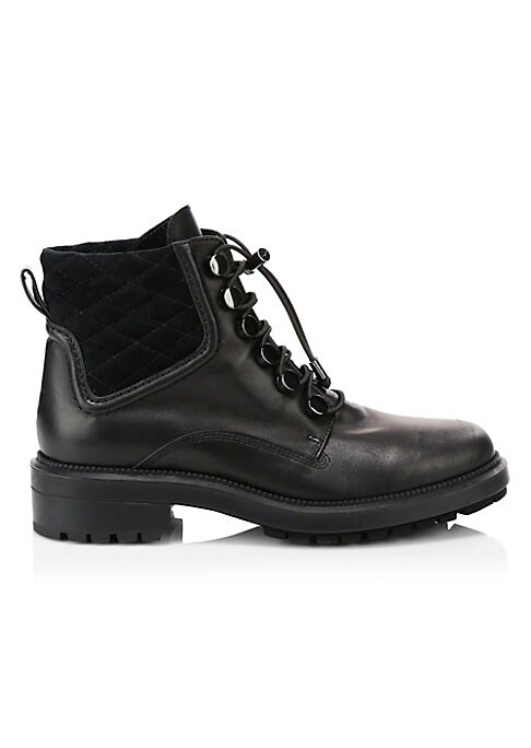 "Image of Edgy combat boots with a utilitarian lace-up bungee cord closure. Leather upper. Round toe. Lace-up bungee cord closure. Neoprene lining. Rubber sole. Made in Italy. SIZE. Block heel, 1.3"" (35mm).Platform, 0.78"" (20mm).Shaft, 4.33"".Leg opening, 10.94""."