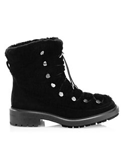1bcd153443d01 Aquatalia. Lorena Shearling-Trim Suede Ankle Boots
