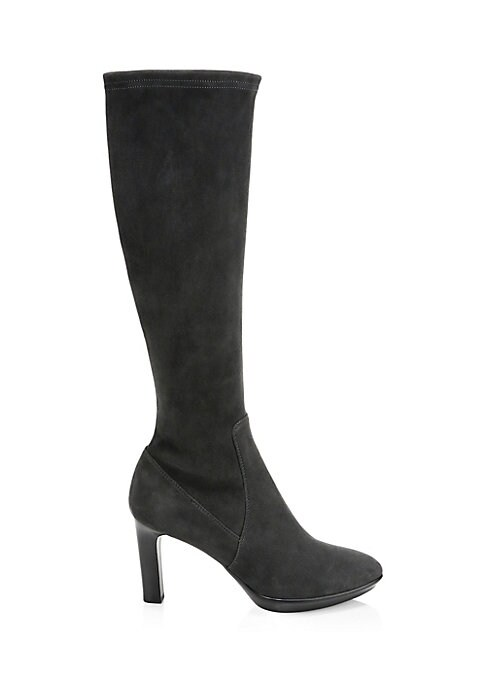 "Image of Classic suede knee-high boots embody versatility. Suede upper. Almond toe. Side zip closure. Neoprene lining. Rubber sole. Made in Italy. SIZE. Stacked heel, 3.3"" (85mm).Platform, 0.59"" (16mm).Shaft, 15.55"".Leg opening, 13.18""."