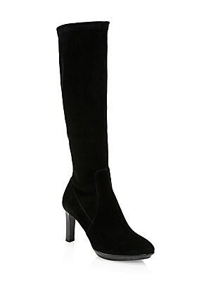 "Image of Classic suede knee-high boots embody versatility. Suede upper Almond toe Side zip closure Neoprene lining Rubber sole Made in Italy SIZE Stacked heel, 3.3"" (85mm) Platform, 0.59"" (16mm) Shaft, 15.55"" Leg opening, 13.18"". Women's Shoes - Cold Weather > Sak"