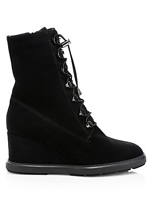 """Image of Step into these towering wedge boots for a bungee cord lace-up aesthetic. Suede upper Almond toe Lace-up bungee cord closure Neoprene lining Rubber sole Made in Italy SIZE Self-covered wedge heel, 2.9"""" (75mm) Platform, 0.98"""" (25mm) Shaft, 8.58"""" Leg openin"""