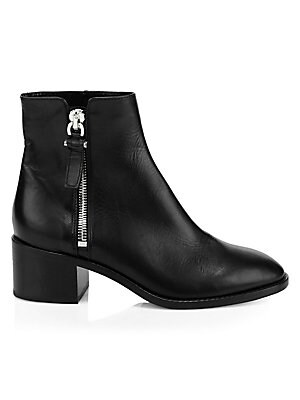 """Image of Sleek leather ankle boots flaunt a bold silvertone side zipper. Leather upper Almond toe Side zip closure Neoprene lining Rubber sole Made in Italy SIZE Block heel, 1.9"""" (50mm) Shaft, 5.39"""" Leg opening, 10.27"""". Women's Shoes - Cold Weather. Aquatalia. Col"""