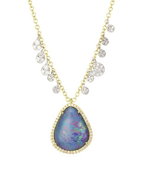 14K Two-Tone Gold, Diamond & Opal Triplet Pendant Necklace