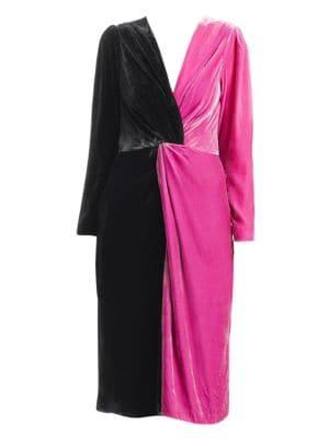 DELFI COLLECTIVE Frankie Colorblocked Velvet Dress in Multi
