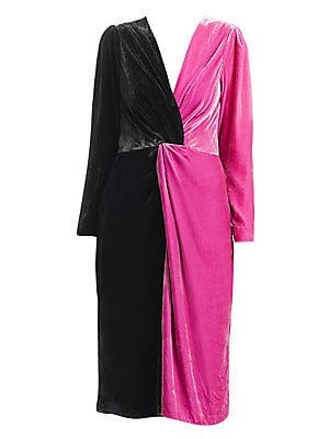 "Image of Dynamic two-tone dress crafted out of sumptuous velvet with a twist front detail. Surplice V-neck Long sleeves Concealed back zip closure Silk/rayon Dry clean Made in USA SIZE & FIT About 44"" from shoulder to hem Model shown is 5'10"" (177cm) wearing US si"